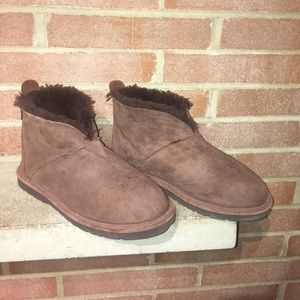 Cabelas Mens Brown Suede & Shearling Warm Size 8W